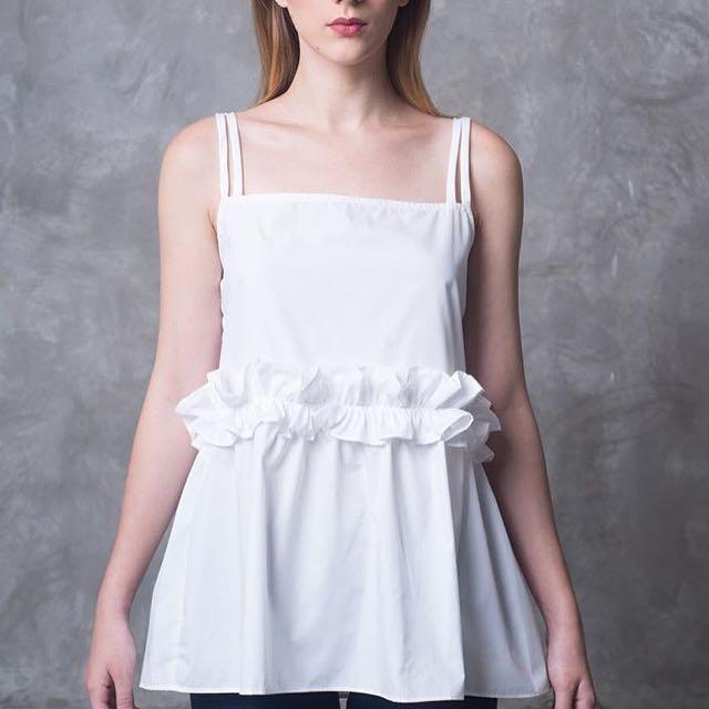 @Minewear_ White Strap Frill Blouse