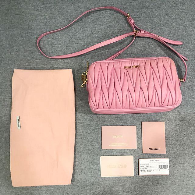 f06737b1e91 Miu Miu Matelasse Leather Double Zip Small Crossbody Bag, Luxury, Bags    Wallets on Carousell