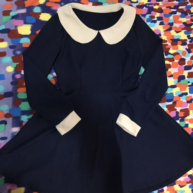 Navy blue dress with colar