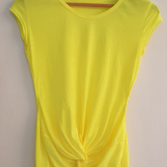 Neon Yellow T Shirt Tied Front