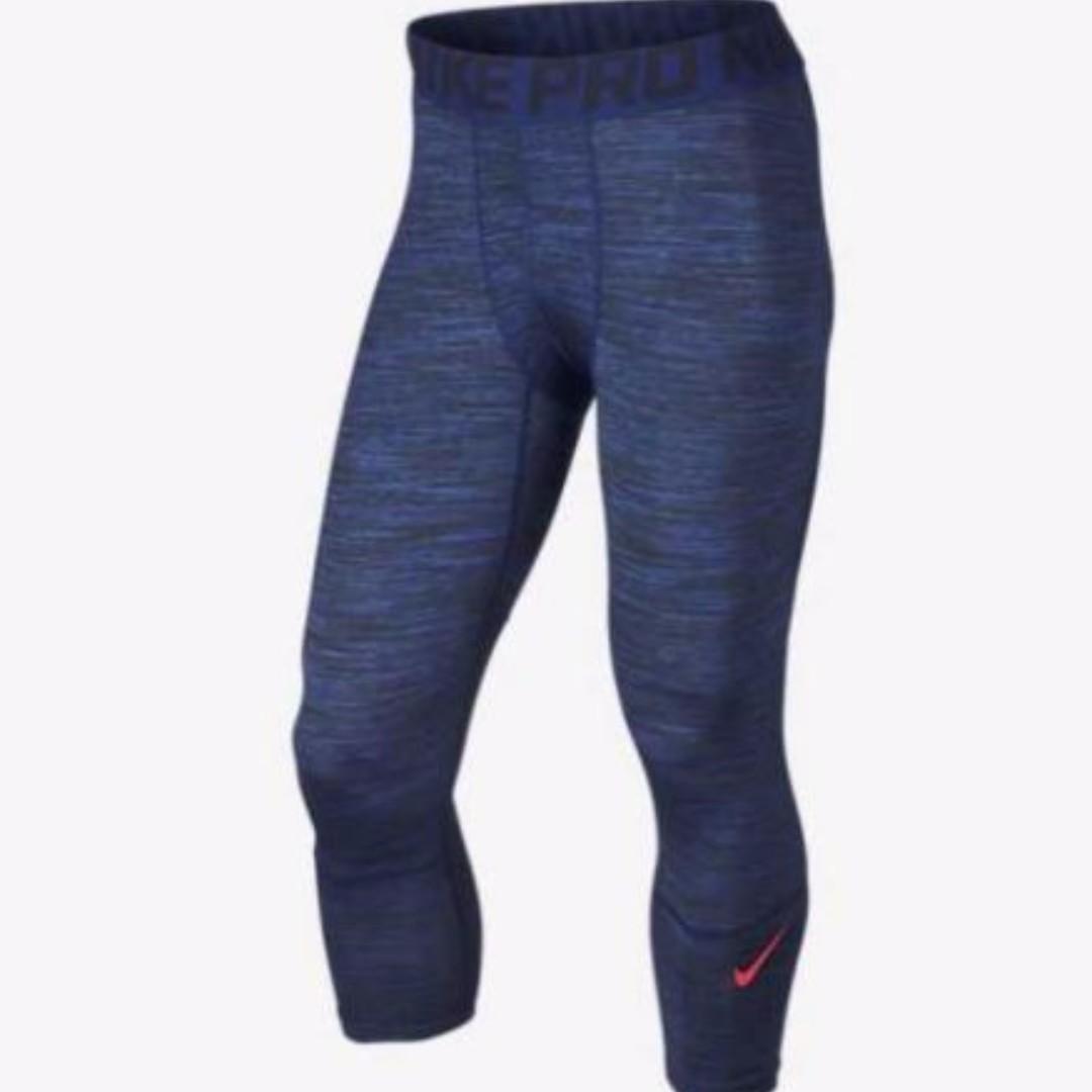 Nike Mens Tights - Nike Pro Hypercool Print 3/4 Deep Royal Blue/Obsidian/Bright Crimson X73x1628