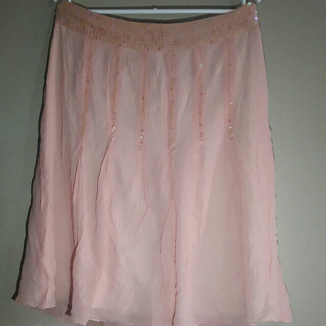 Pink Flattery Skirt With Sequence