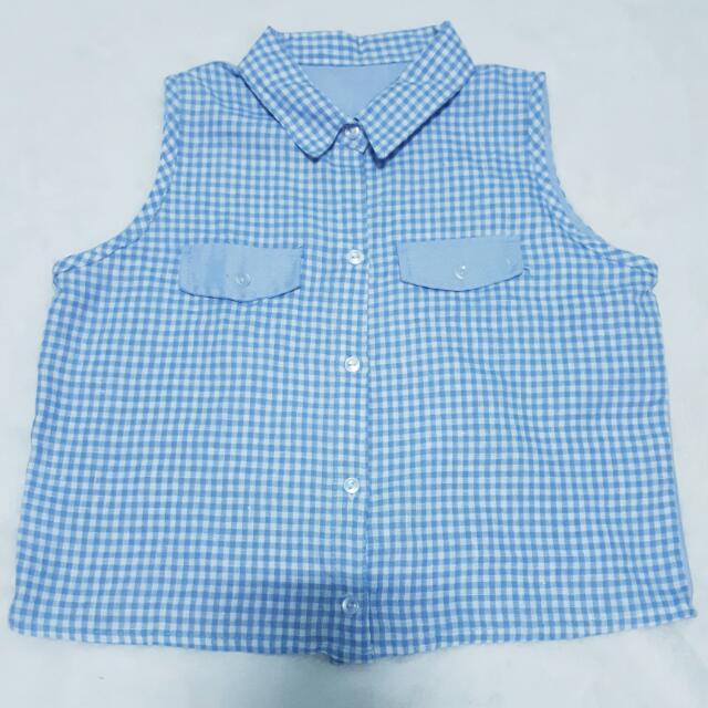 Powder Blue Checkered Top