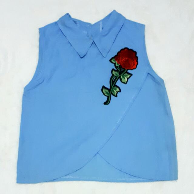 Powder Blue With Rose Patch Top