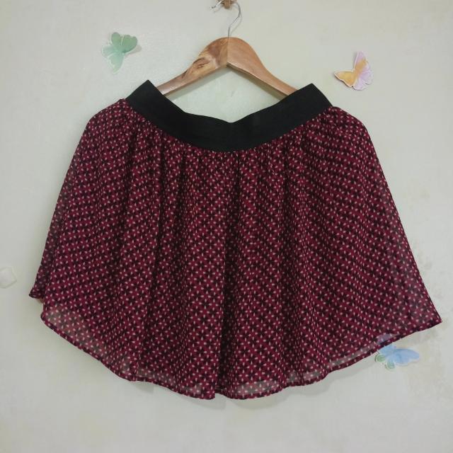 Printed Maroon Skirt