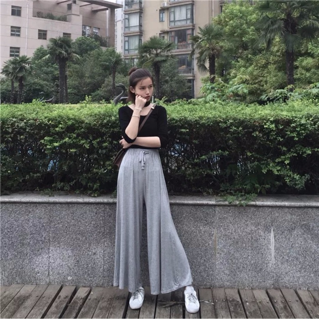 Brand New High-Waist Loose Cotton Culottes