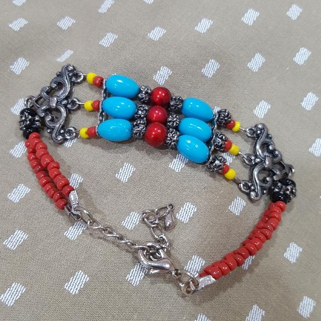 Red & Blue Ethnic Bracelet