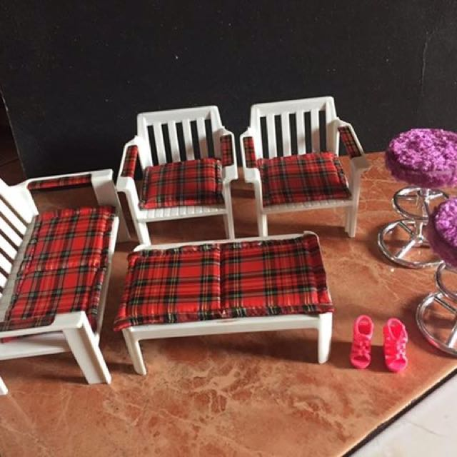 Sala set and Stool for Barbie. with free pink shoes