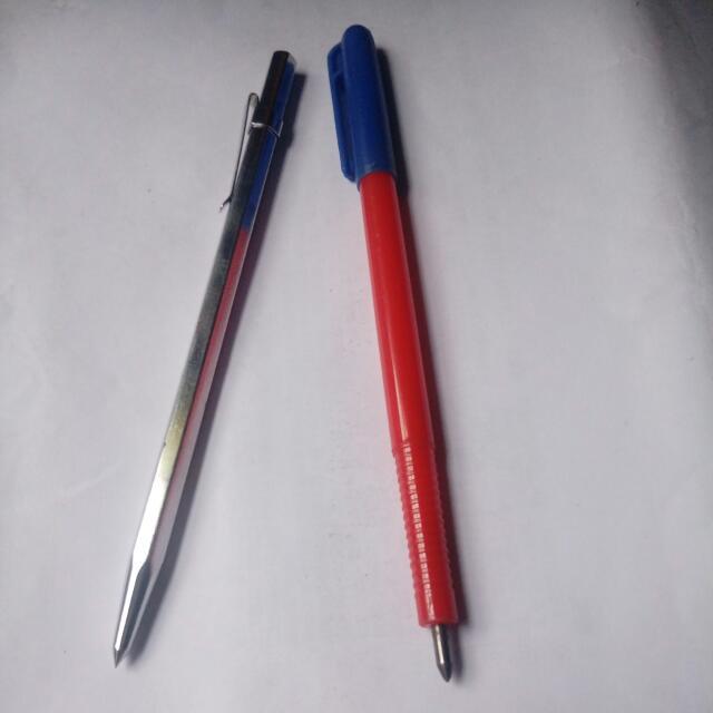 劃針 Scriber( 用途: 在金屬表面劃線) 咀尖部份 由鎢鋼制造 身體部份 分别有金屬(重) 和 塑膠 (輕) 選擇