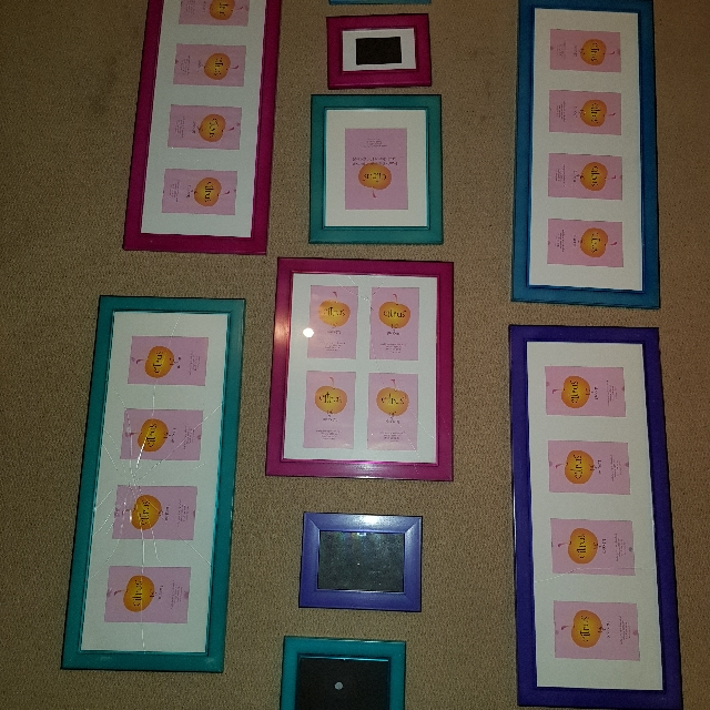 Set Of 10 Candy Coloured Photo Frames (Mixed Sizes And Colours)