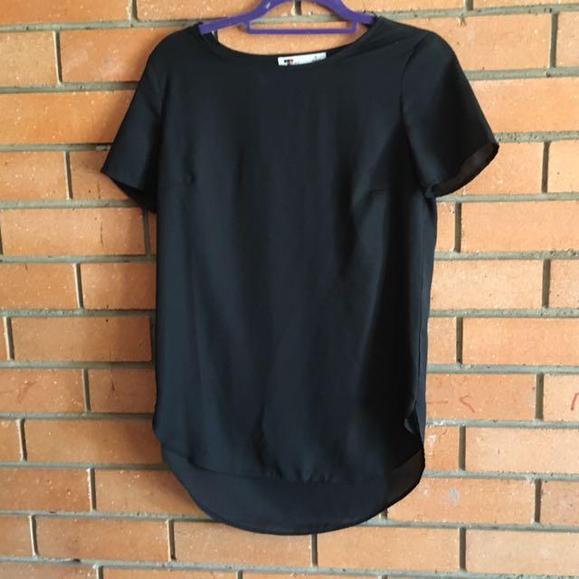 Size 8 Temt Sheer Black Top
