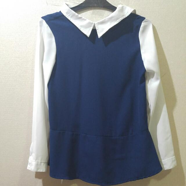 White Blue Collar Top