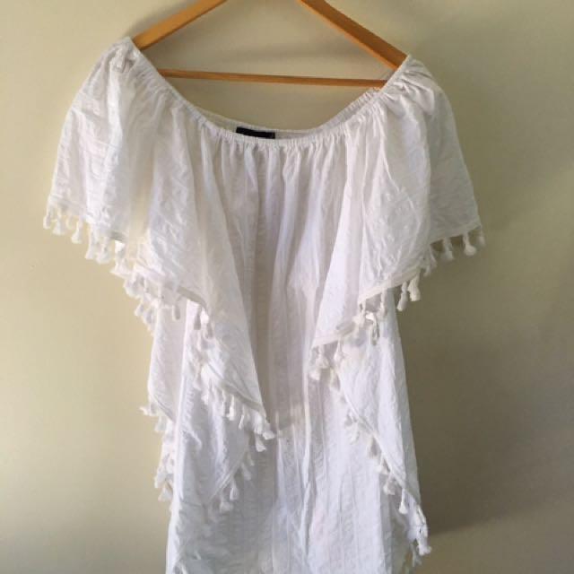 White Pom Pom Dress Size M