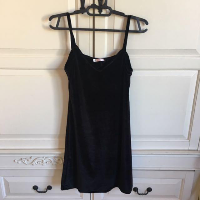 Yuan Black Velvet Dress
