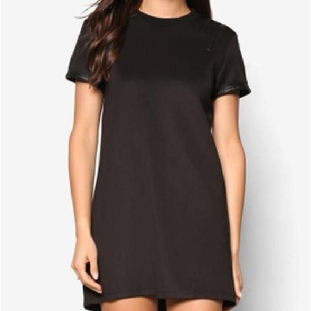 Zalora Trim Insert Shift Black Dress