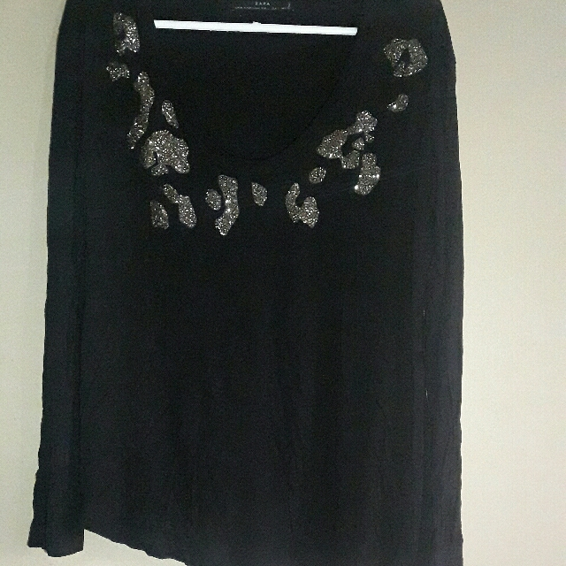 Zara Black Long Sleeves With Sparkly Sequence