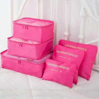 6 in 1 Travel Pouch Organizer Bags ( hot pink )