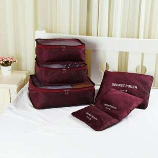6 in 1 Travel Pouch Organizer Bags ( Maroon )