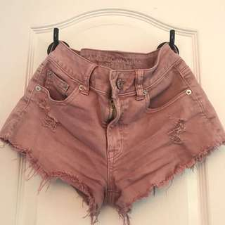 AE frayed pink high-waisted shorts