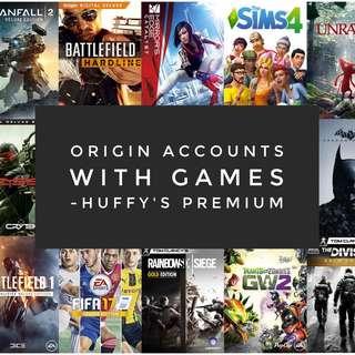 Origin EA Accounts with PC Games