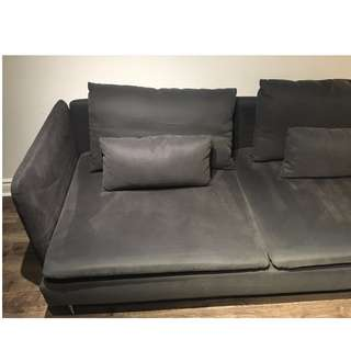 Soderhamn ikea sofa and chaise (dark grey)