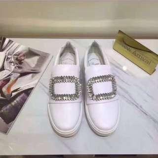 方塊樂福鞋-白色牛皮(全新)