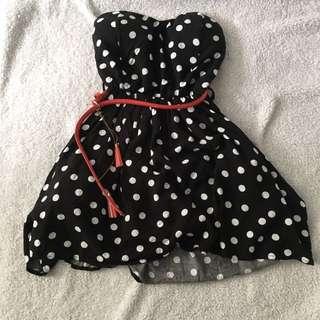 strapless polka dot dress with red belt