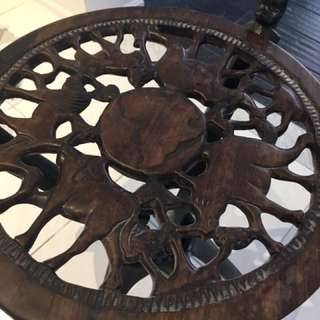African Carved Decorative Tables (set Of 2)