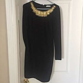 Calvin Klein - Black Dress With Gold Embellishment