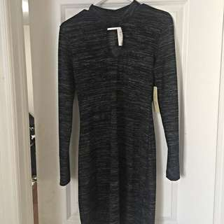 Long Sleeve Peep Through Dress - With Collar
