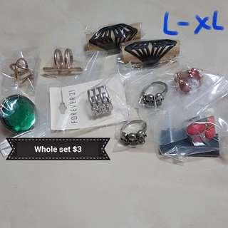 (Set B) Set of 10 L-XL Rings