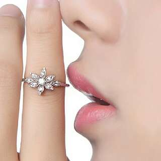 Unique Floral Real Diamond Ring Natural Diamond Solid White Gold Engagement Wedding Rings For Women Diamond Jewelry