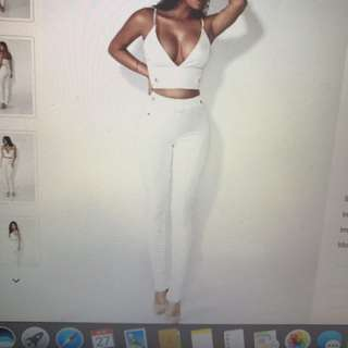 White pants and bralet Set ( S)