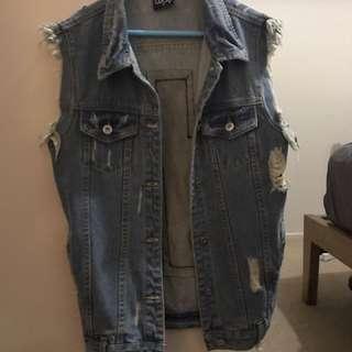 Denim Vest With Cross On Back