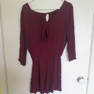 Burgundy Flowy Playsuit Size S