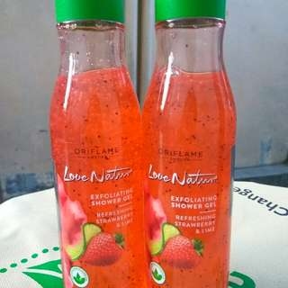LOVE NATURE EXFOLIATING SHOWER GEL + BONUS SABUN BATANG LOVE NATURE