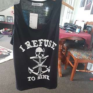 "Black Singlet ""I Refuse To Sink"""