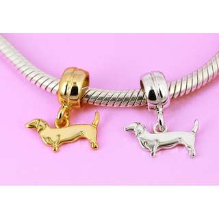 Sterling Silver Dachshund Sausage Dog Puppy Pet Animal Charm Bead for Bracelet