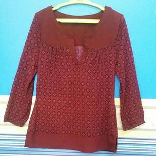 Burgundy Printed Semi See-through Top With Slits On Both Sides