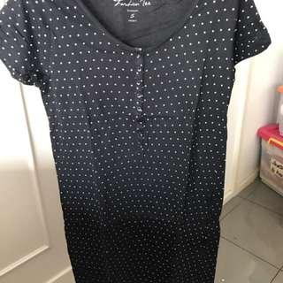 Black small polkadot dress •bossini•