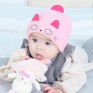 🚚 QF085 2017年秋冬新款 小貓咪套頭帽耳朵寶寶 翻邊套頭帽