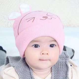 🚚 QF086 長耳兔可愛寶寶毛線針織帽秋冬保暖套頭帽時尚嬰兒護耳帽子