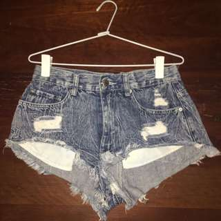 Supre (size S)- Blue Acid Wash Denim Shorts