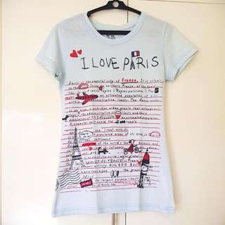 I Love Paris Shirt - Light Blue