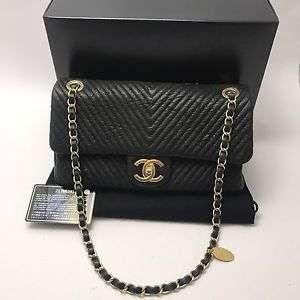 Authentic Chanel Black Medium Chevron Flap Bag