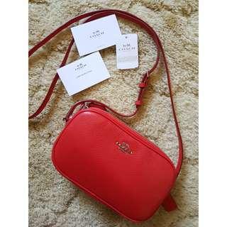 NEW FREE SHIP Genuine Coach Crossbody Pouch F65988 Pebble Leather Handbag RED