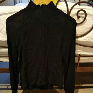 H&M Black High Neck Blouse