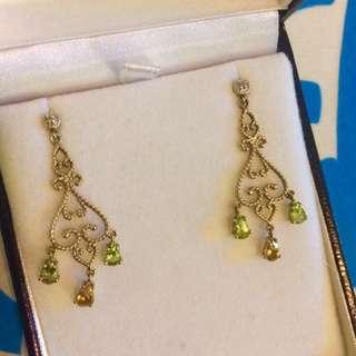 Gorgeous 9ct gold gemstone chandelier earrings