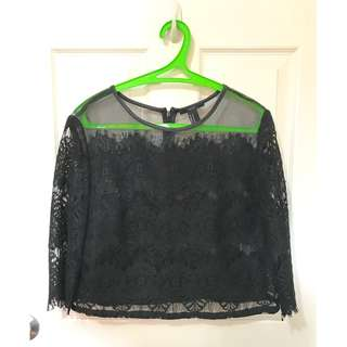 Barely Used Forever 21 boxy 3/4 lace top