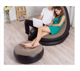 Ultra Lounge Inflatable sofa w/ Ottoman Sofa Chair set (Brown/Black) with FREE Double Quick Hand Pump Free Delivery in NCR Cash on Delivery